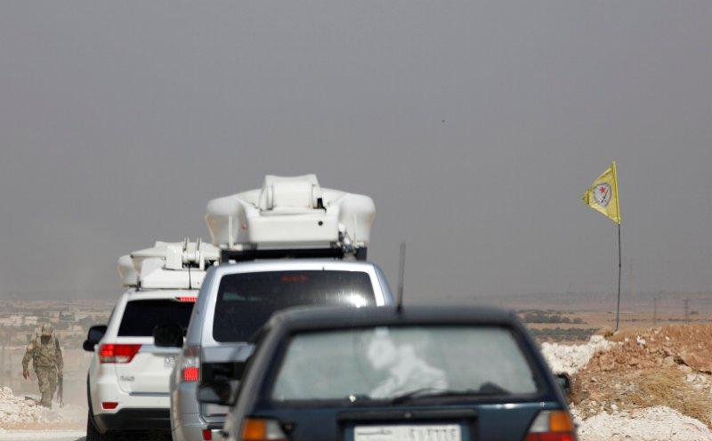 A Kurdish checkpoint is seen near Manbij, Syria October 15, 2019. REUTERS/Omar Sanadiki