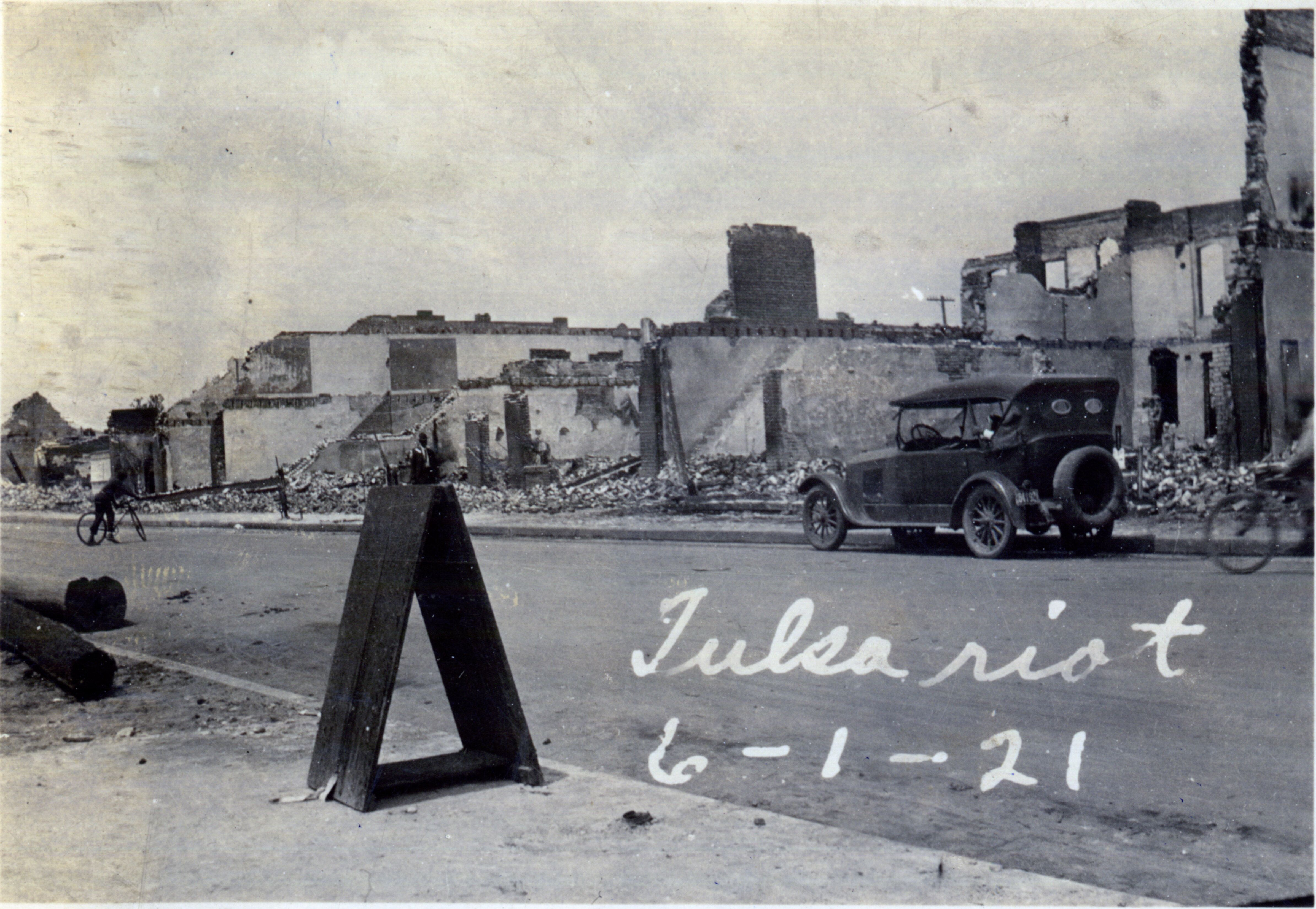 Burned buildings after the Tulsa Race Massacre in Oklahoma in June 1921.