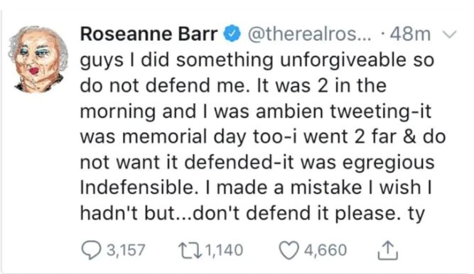 Ambien Tweet by Roseanne Barr.