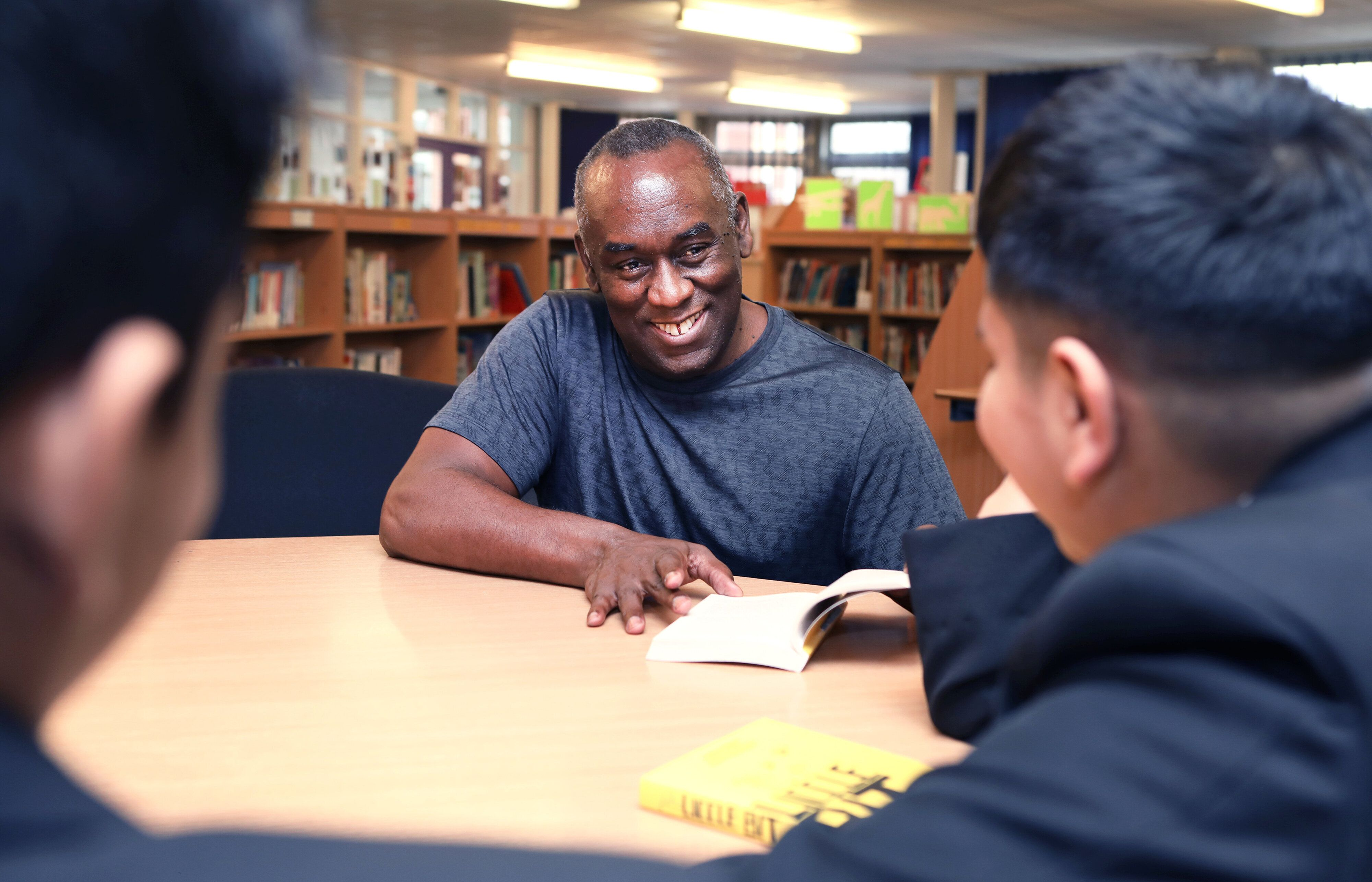 Pupils at Yardleys School in Birmingham meet author Alex Wheatle at a BookTrust event to highlight books by authors and illus