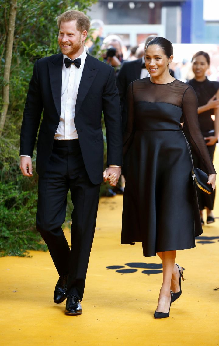 """Harry and Meghan attend the European premiere of """"The Lion King"""" in London on July 14."""