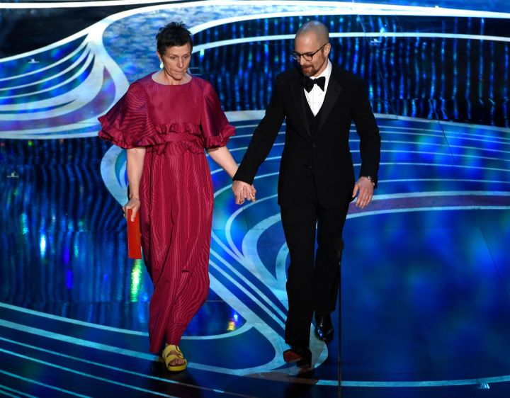 Frances McDormand wears Birkenstocks at the Oscars with Sam Rockwell on February 24, 2019.