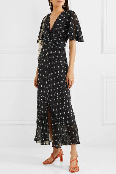 Rixo Zhandra Floral-Print Silk Crepe De Chine Midi Dress, Net-A-Porter