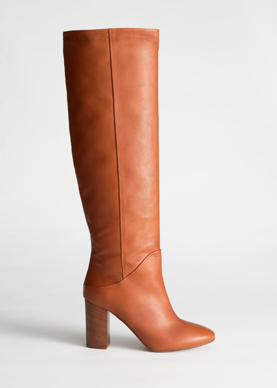 Chrome Free Tanned Leather Knee High Boots, & Other Stories