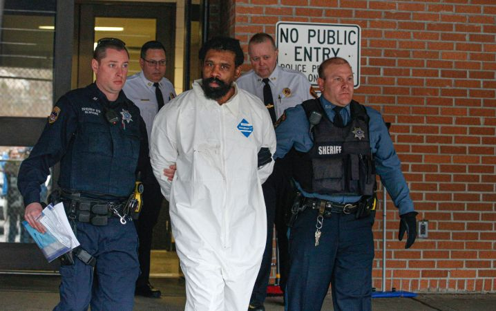 Grafton E. Thomas leaves the Ramapo Town Hall in Airmont, New York after being arrested on December 29, 2019.