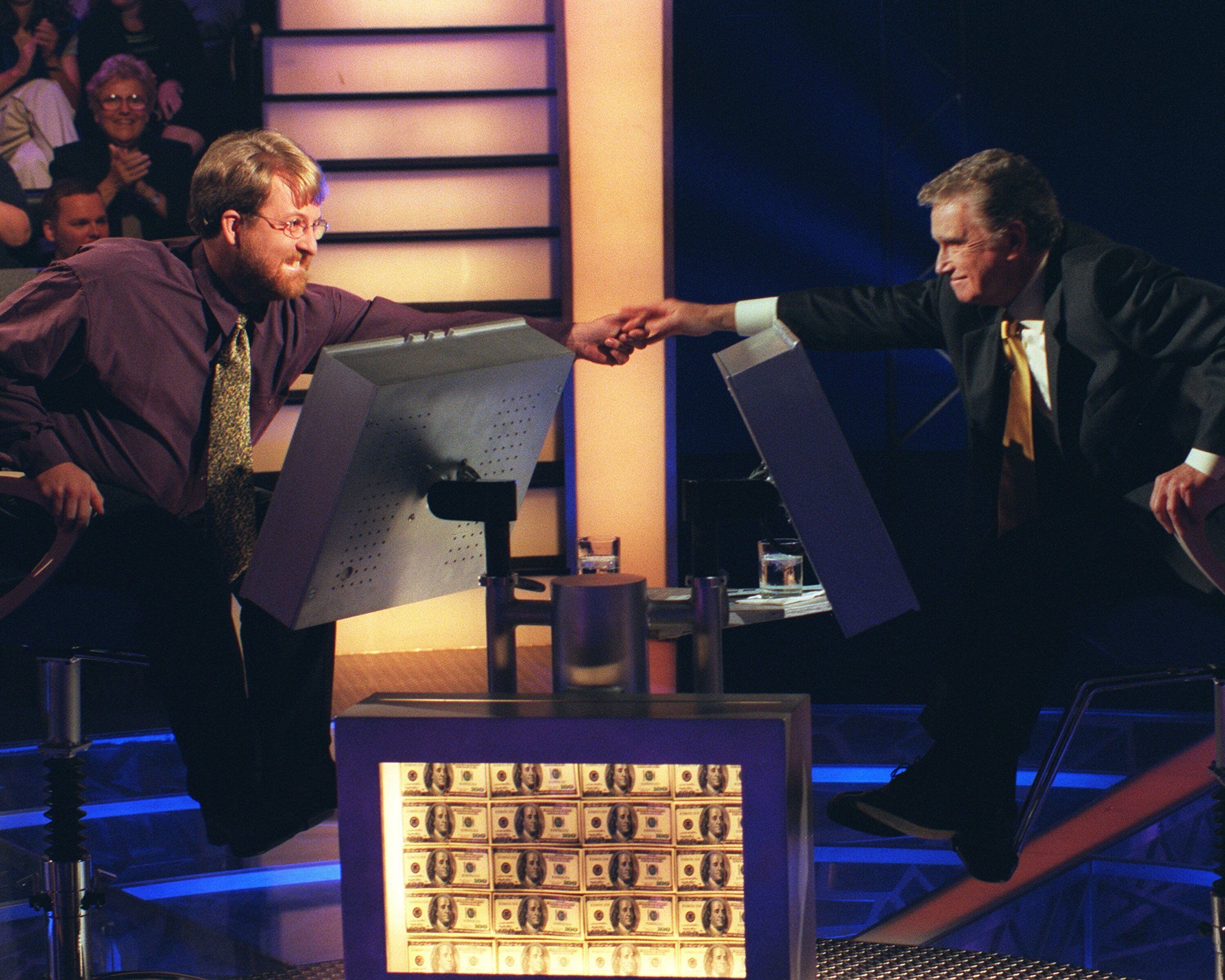"""Philbin with the winner of the """"Who Wants to Be a Millionaire?"""" episode that aired on Aug. 20, 1999,Doug Van Gundy."""