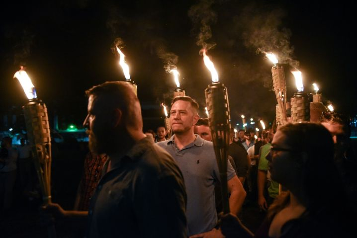 White nationalists march on the grounds of the University of Virginia ahead of the Unite the Right Rally in Charlottesville,