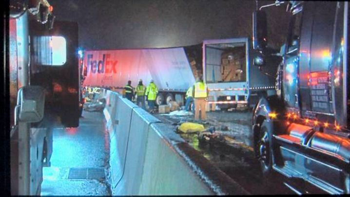 Emergency crews respond to a fatal crash on the Pennsylvania Turnpike in Mount Pleasant Township early Sunday morning.