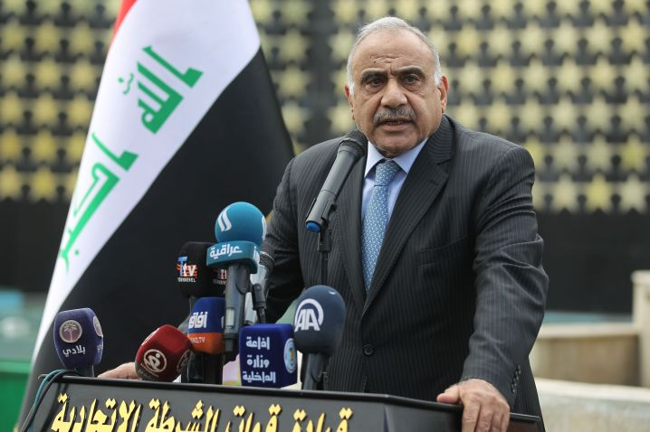 Iraqi Prime Minister Adel Abdul Mahdi speaks during a symbolic funeral ceremony in Baghdad on Oct. 23 for Maj. Gen. Ali al-La