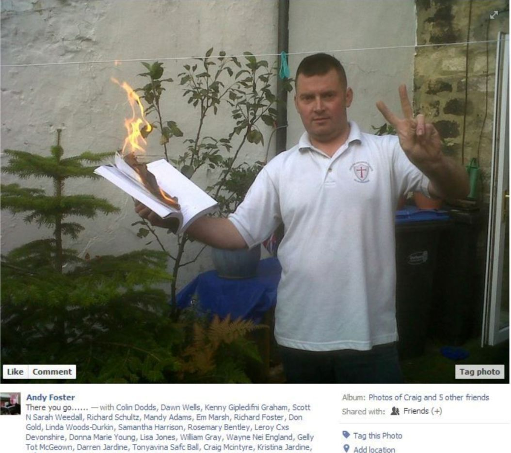 Andrew Foster, who is said to be burning the Quran