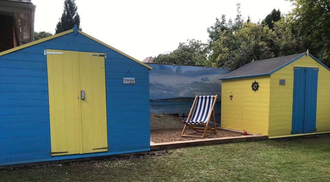 Beach huts at Hunters Lodge care home