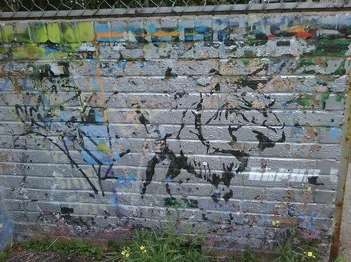 An early Banksy piece that he painted in the 1980s at the Barton Hill Youth Centre, streets away from where his latest installation is located.