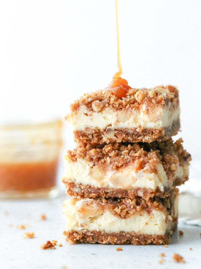 Get the Caramel Apple Cheesecake Bars recipe from Completely Delicious