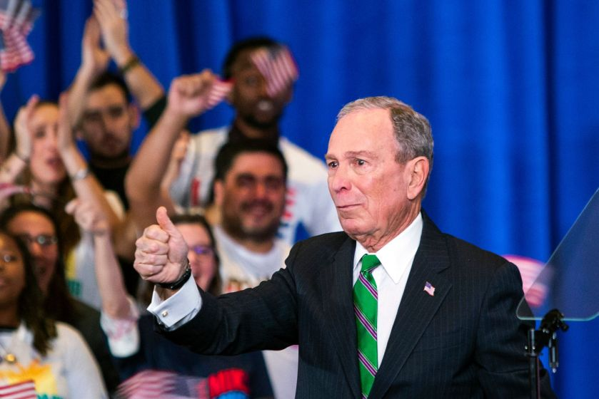 Former Democratic presidential candidate Mike Bloomberg in March as he announces the suspension of his campaign and his endor