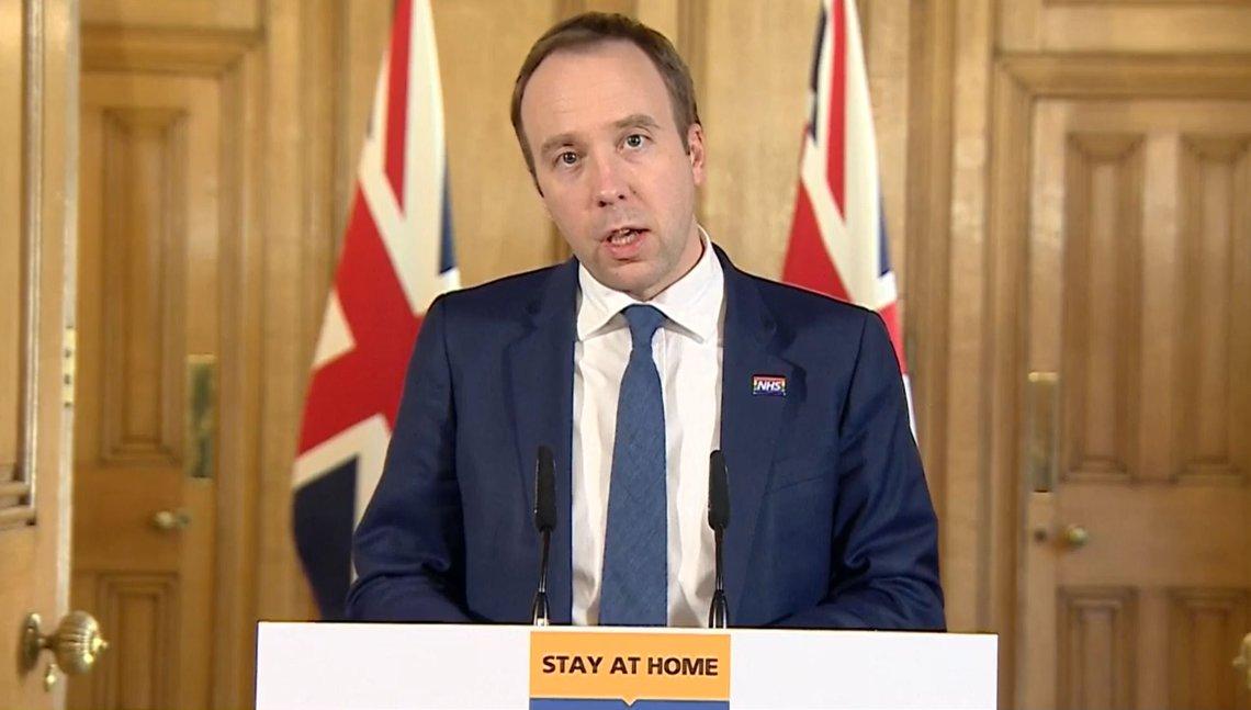 Screen grab of Health Secretary Matt Hancock speaking during a media briefing in Downing Street, London, on coronavirus (COVID-19).