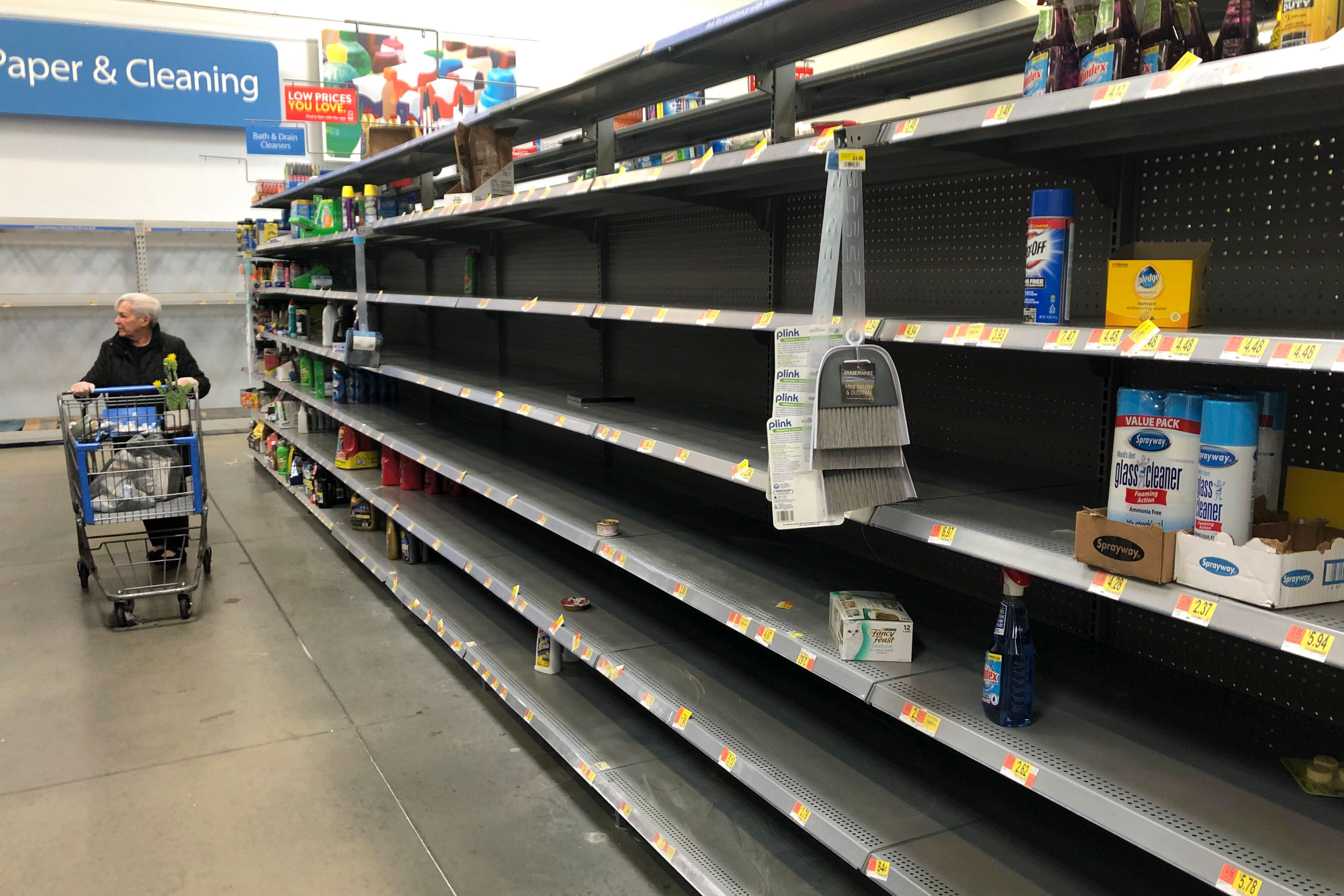 Shelves are nearly empty at a Walmart in Warrington, Pennsylvania, on March 17.Walmart has said it will provide up to t