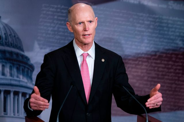 Senator Rick Scott (R-FL) speaks during a press conference at the US Capitol March 25, in Washington, D.C.