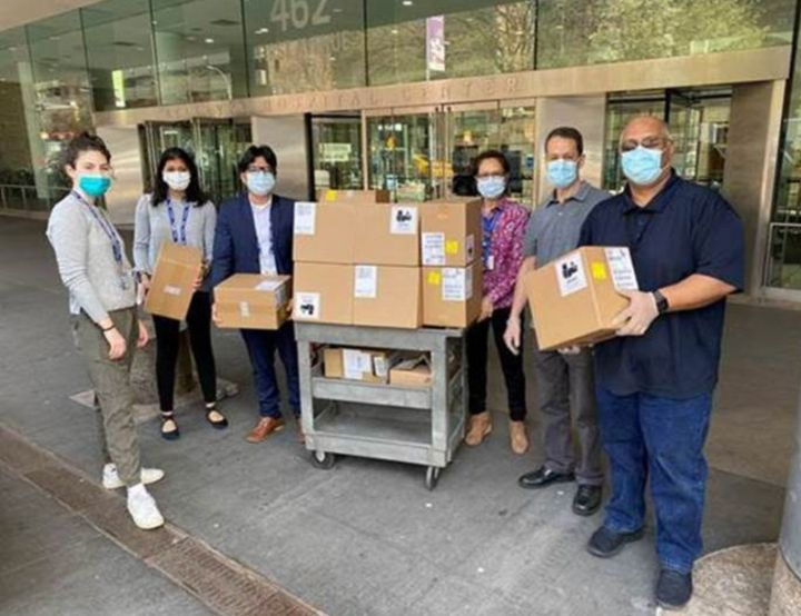 Donations collected by Tay arrive at Bellevue Hospital.