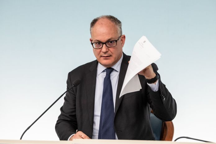 ROME, ITALY - 2020/03/05: Minister of Economy and Finance, Roberto Gualtieri speaks during a press conference ...