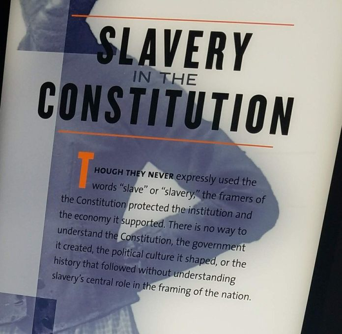"A photo the author took at the ""The Mere Distinction of Colour"" slavery exhibit at James Madison's Montpelier in 2018."