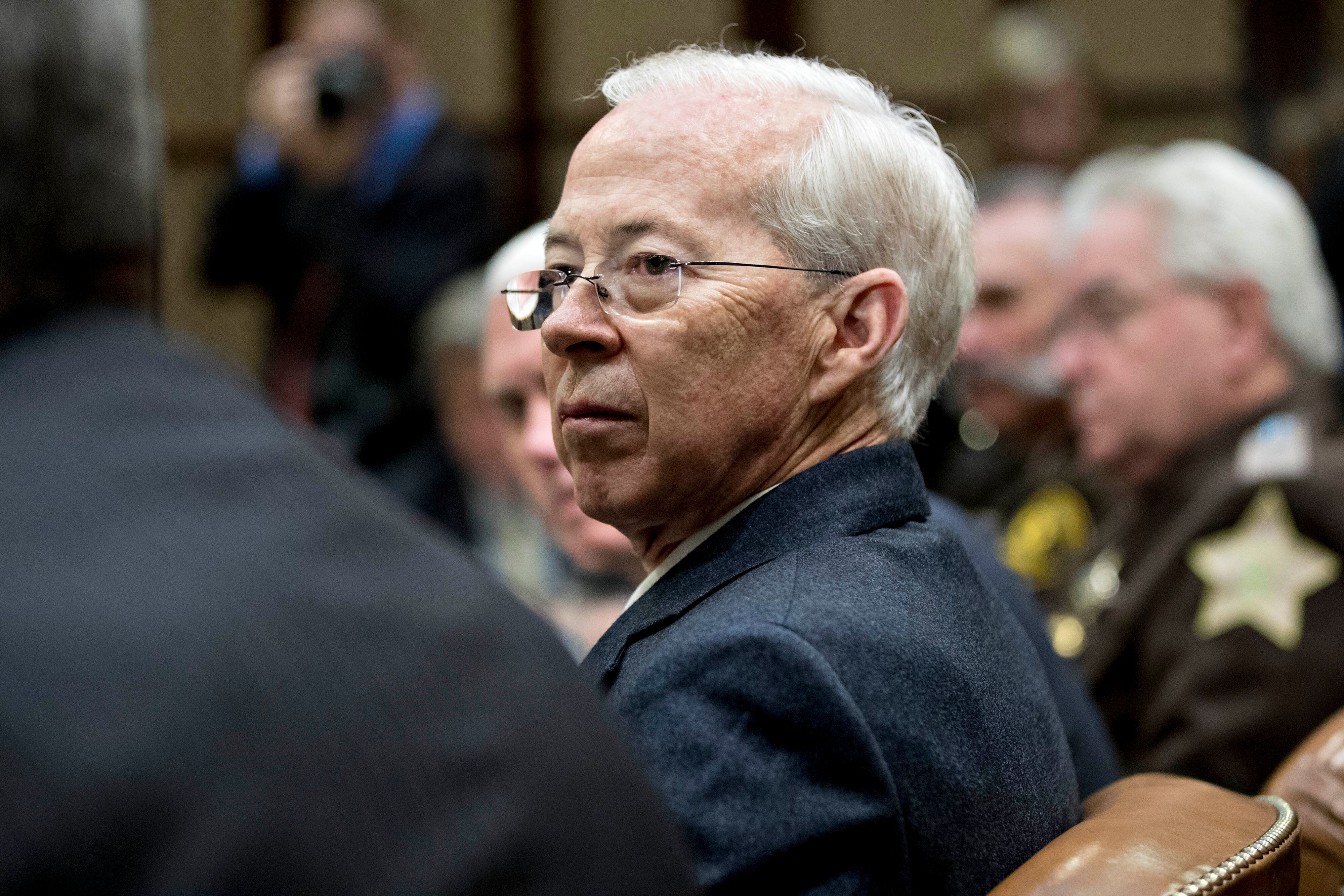 Dana Boente, then-acting U.S. attorney general, listens during a county sheriff listening session with President Donald Trump