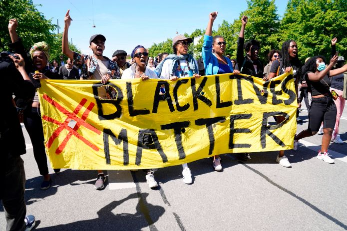 A Black Lives Matter demonstration in front of the U.S. Embassy in Copenhagen on Saturday.