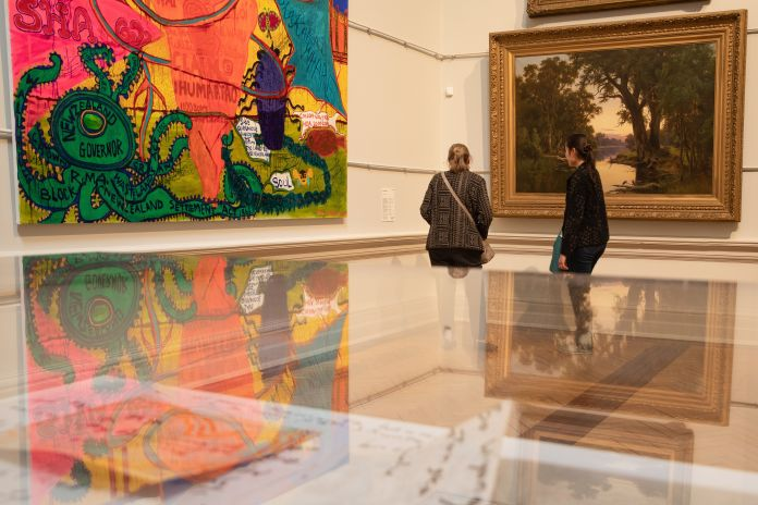 Members of the public are seen viewing works at the Art Gallery Of NSW on June 01, 2020 in Sydney,