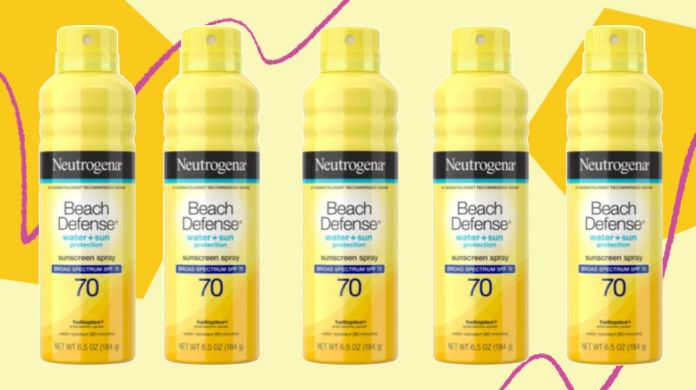 """<a href=""""https://fave.co/3gSLMhc"""" target=""""_blank"""" rel=""""noopener noreferrer"""">Neutrogena&rsquo;s Beach Defense Water + Sun Protection Spray SPF 70</a>&nbsp;has an """"excellent"""" rating for SPF and is """"very good"""" for&nbsp;UVA protection.&nbsp;"""