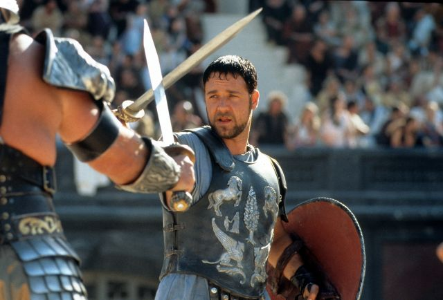 """Russell Crowe facing off in a scene from the film """"Gladiator."""""""