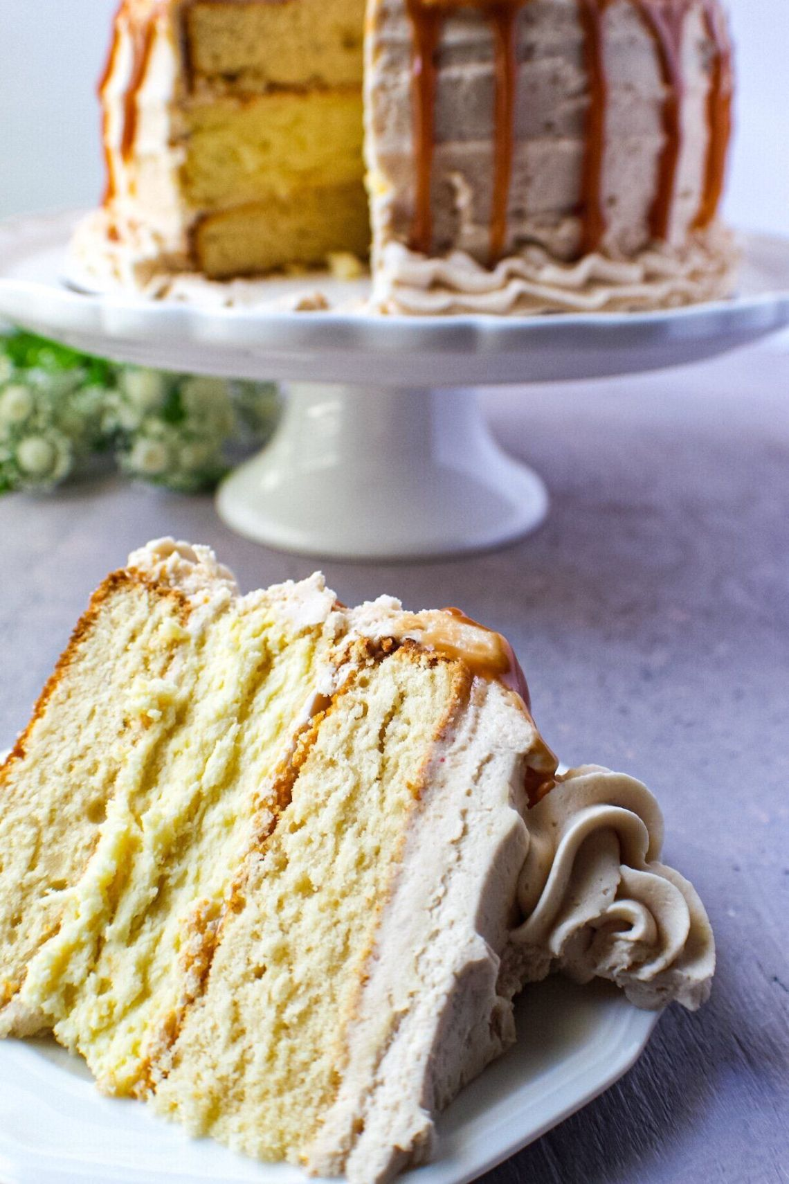 Caramel Cheesecake Layer Cake from The Pink Owl Kitchen