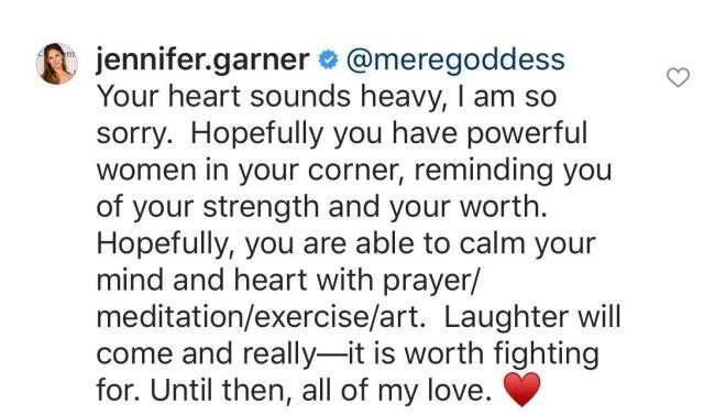 Jennifer Garner responds to a fan on Instagram.