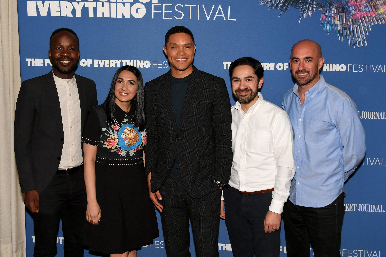 """The Daily Show's"" David Kibuuka, Jen Flanz, Trevor Noah, Zhubin Parang, and Ramin Hedayati attend The Wall Street Journal's"