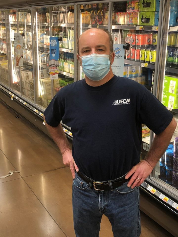 """Dacey, a 53-year-old front end department leader for Kroger in Kentucky, said, """"The primary challenge for me as a hearing-impaired person during this pandemic is that it is almost impossible for me to communicate with other people at all."""""""