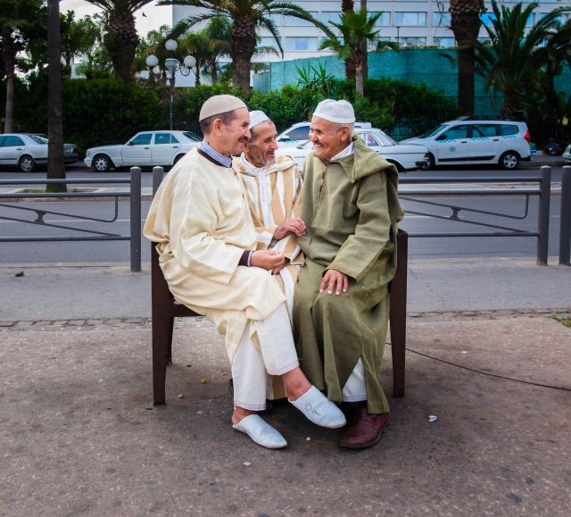 Three men and a bench in Casablanca, but during two very different times. Close physical contact is a large part of Moroccan culture. Above: June 15, 2016 | Below: Aug. 1, 2020