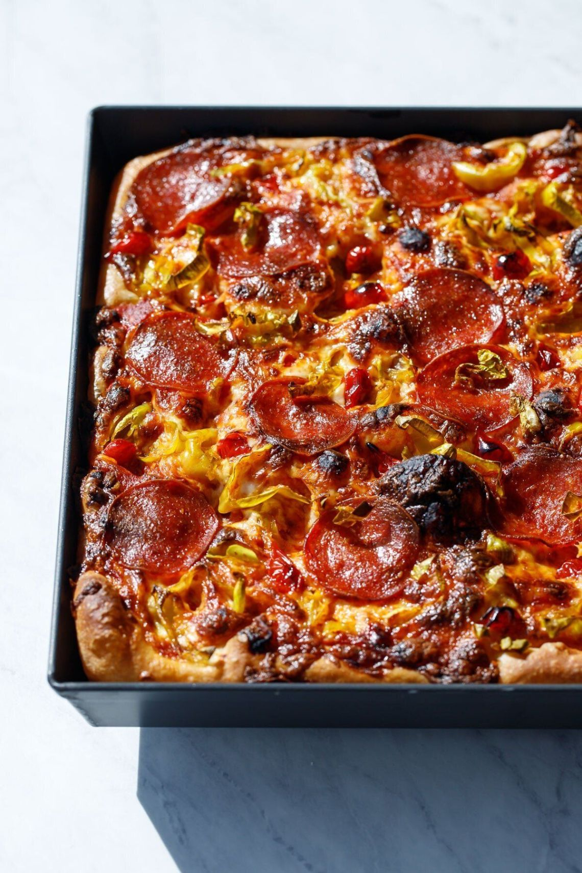 Detroit-Style Pepperoni and Pickled Pepper Sheet Pan Pizza from Love and Olive Oil