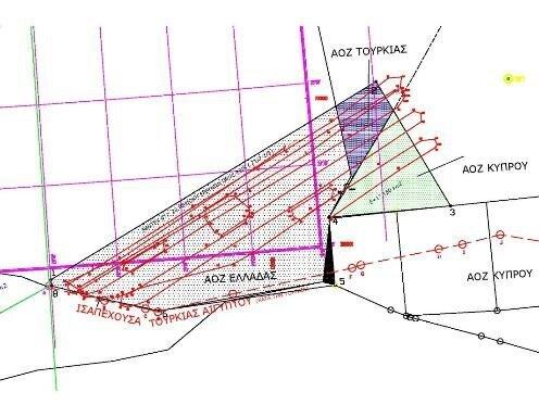 Σχήμα 2: Σεισμικό πρόγραμμα ORUC REIS ε(κόκκινη γραμμή) από 9/8/20-23/08/20 εντός της NAVTEX