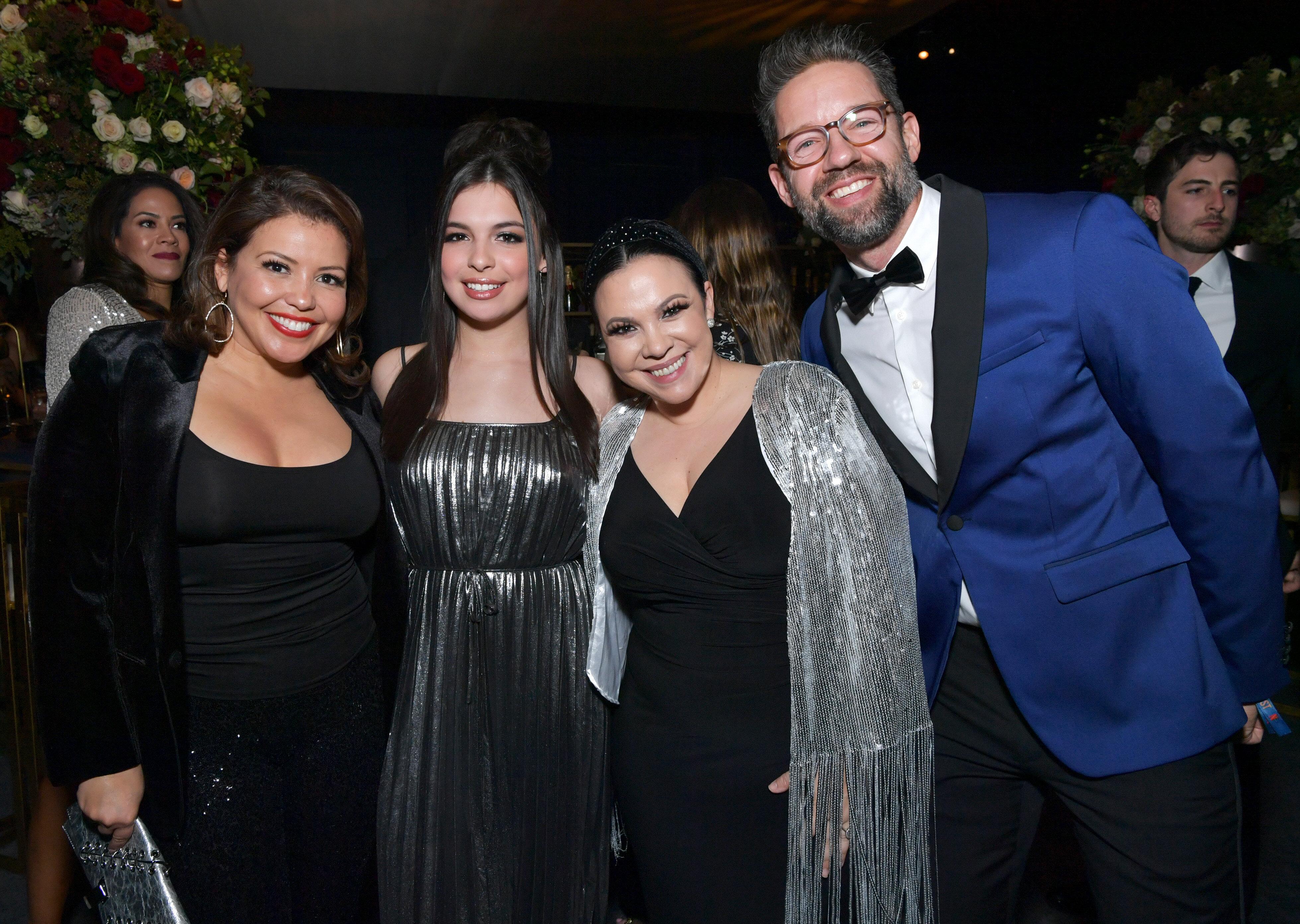(Left to right) Justina Machado, Isabella Gomez, Gloria Calderon Kellett and Todd Grinnell attend the Netflix 2020 Golden Glo