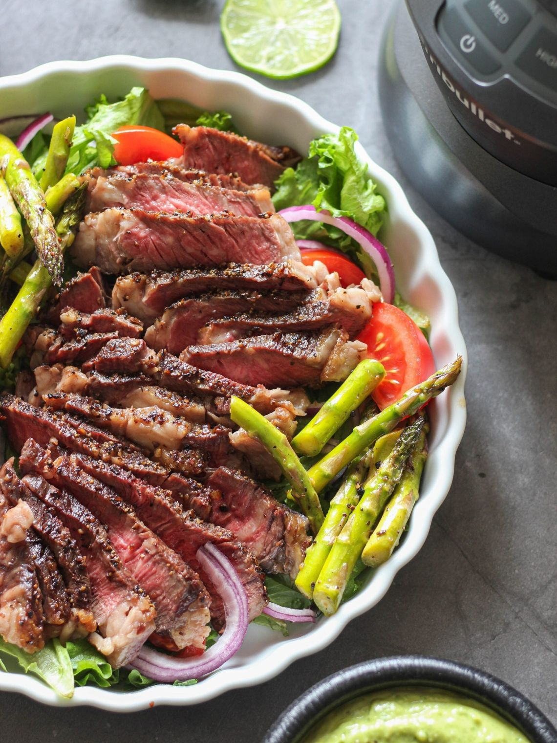 Steak Salad with Creamy Herb Sauce from Clean Foodie Cravings