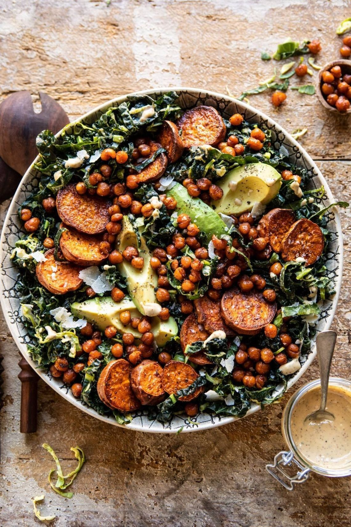 Kale Caesar Salad with Sweet Potatoes and Crispy Chickpeas from Half Baked Harvest