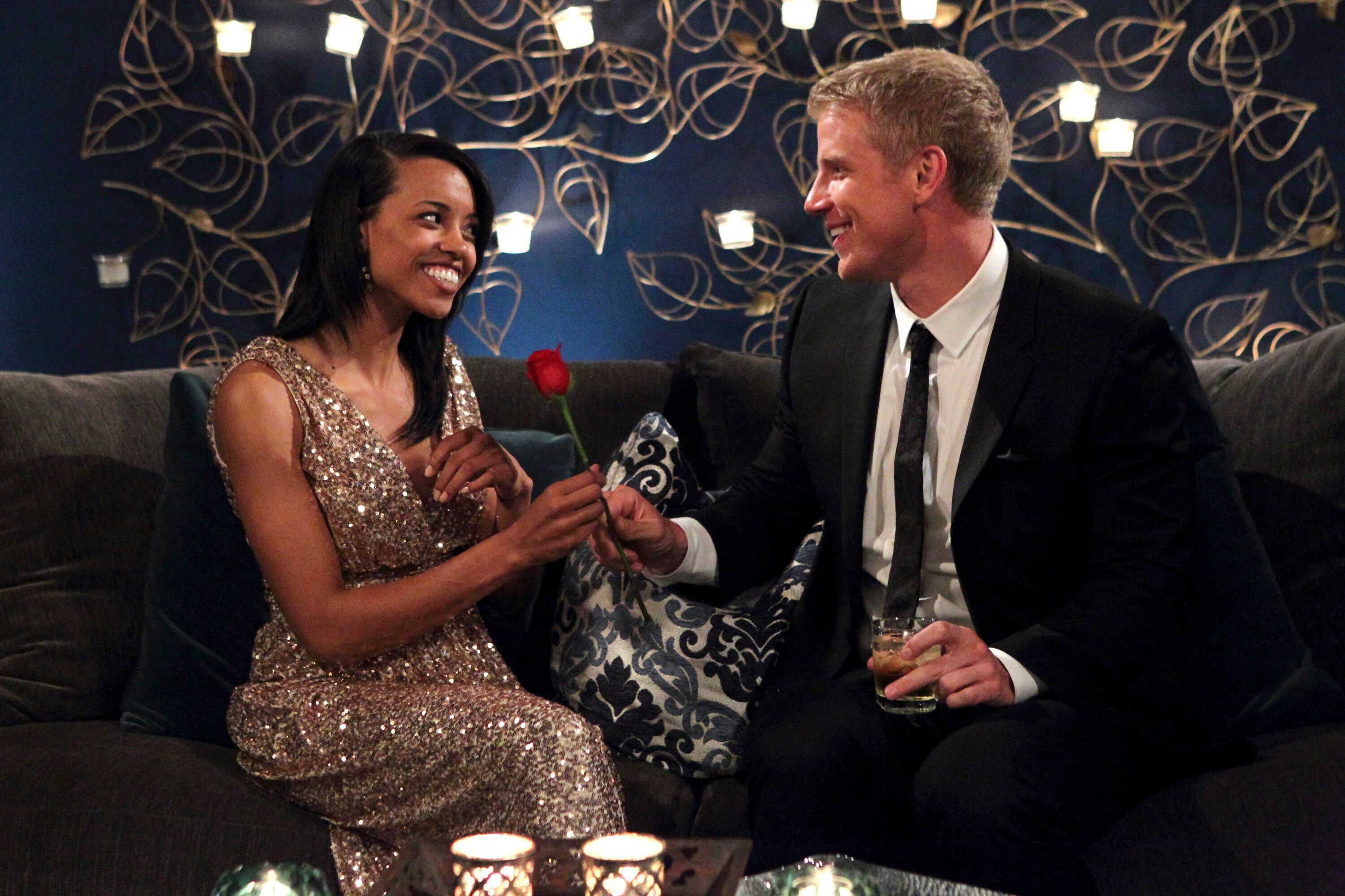 """Robyn Jedkins meets Sean Lowe on night one of Season 17 of """"The Bachelor."""" This episode aired in January 2013."""