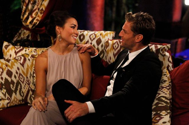 "Juan Pablo Galavis, the Bachelor franchise's first Latino Bachelor, with contestant Sharleen Joynt on the 18th season of ""The"