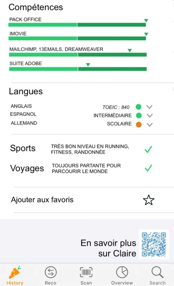 Claire Pérard a utilisé l'interface de l'application Yuka pour créer son CV.
