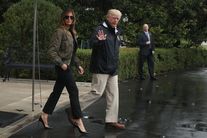 Melania Trump wears sky-high heels prior to a Marine One departure from the White House Aug. 29, 2017, to observe the effects of Hurricane Harvey.