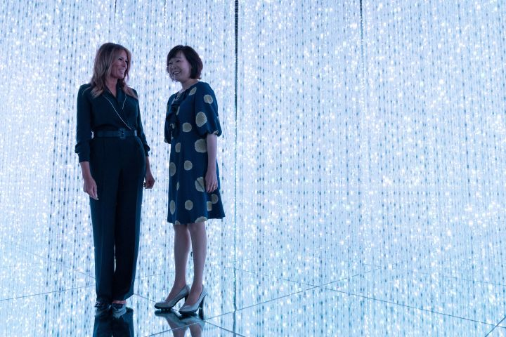 Akie Abe and Melania Trump visit the Mori Building Digital Art Museum on May 26, 2019 in Tokyo, Japan.