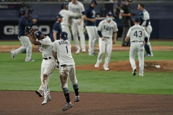 Tampa Bay Rays' Manuel Margot and Willy Adames celebrate their victory in Game 7 of a baseball American League Championship S