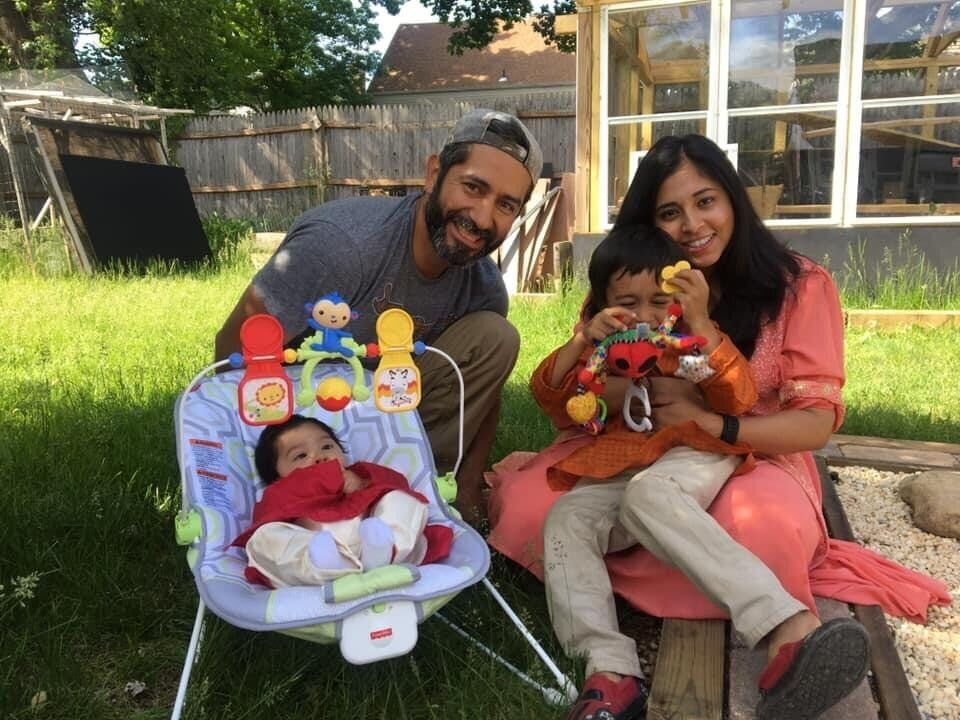Smita Nadia Hussain, a Bengali American, with her Salvadoran American husband and their two children.