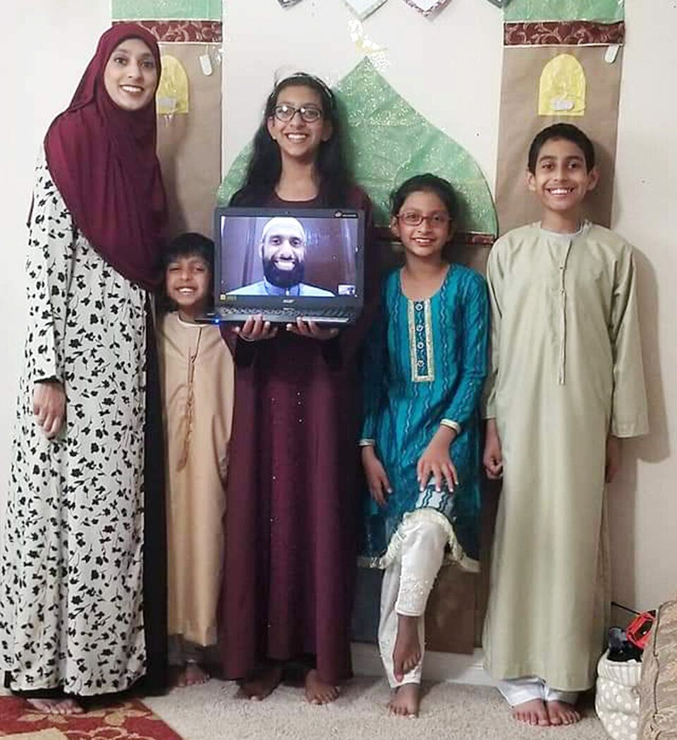 Umaima Jafri, a 37-year-old mother, with her four children.