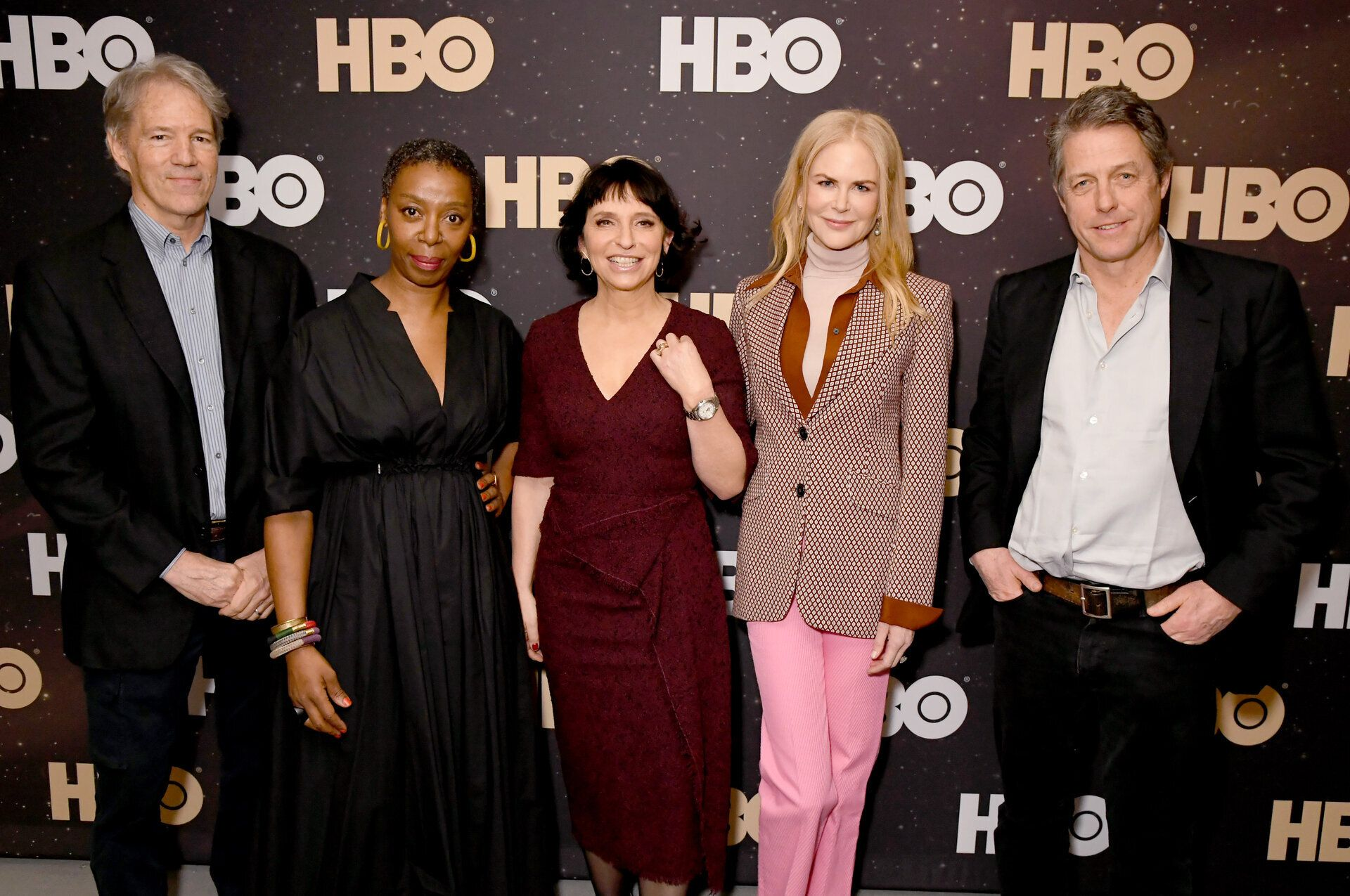 "From left to right, David E. Kelley, Noma Dumezweni, Susanne Bier, Nicole Kidman and Hugh Grant of ""The Undoing"" at the 2020"