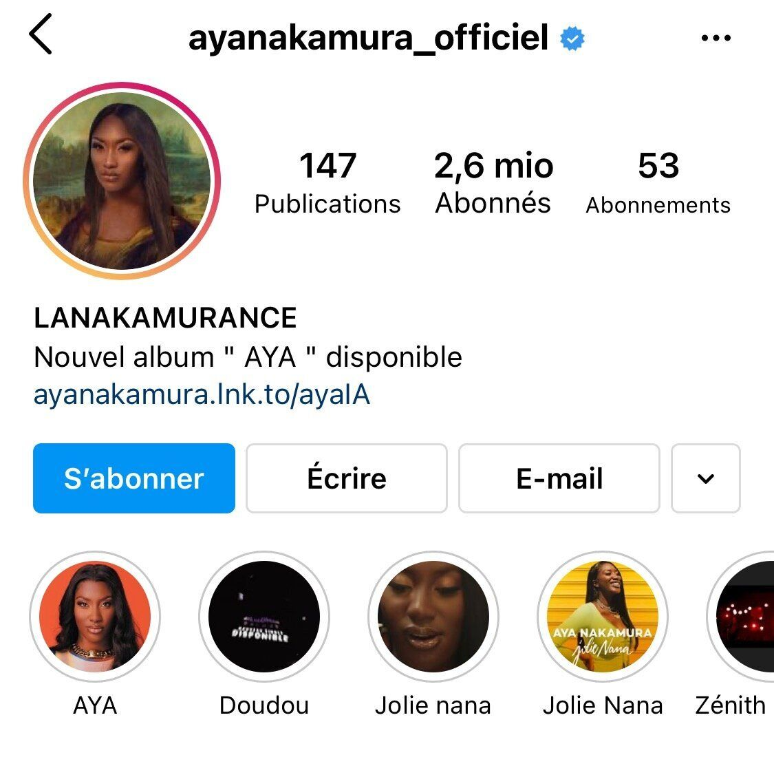 Compte Instagram d'Aya