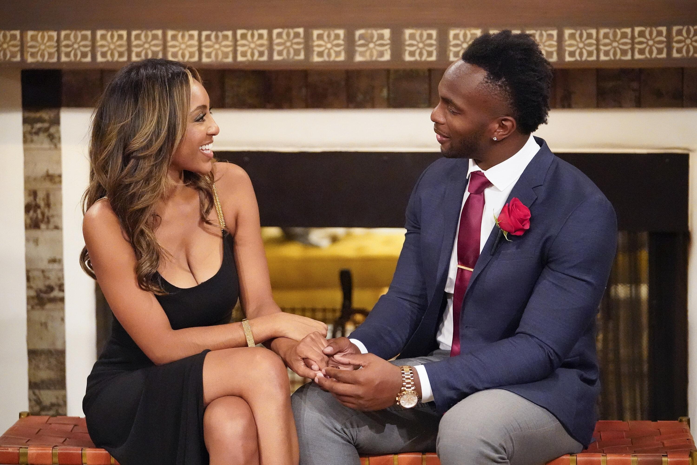 "Bachelorette Tayshia Adams and Nwachukwu on this season of ""The Bachelorette."""